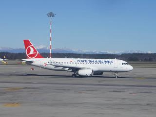 Airbus A320 Turkish airlines at the airport of Milan Malpensa