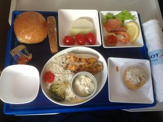 The food in comfort class on Aeroflot flight Khabarovsk-Moscow