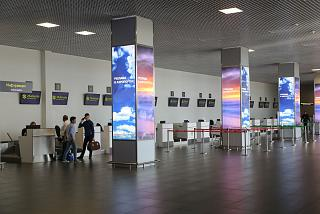 Hall check-in for flights at the airport in Zhukovsky