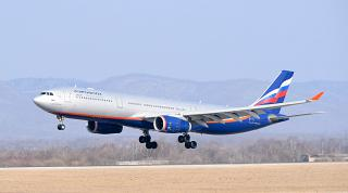 Airliner Airbus A330-300 Aeroflot sits down at the airport of Vladivostok