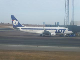Embraer 175 LOT airline at the airport of Copenhagen Kastrup
