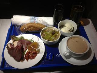 Food business class on Aeroflot flight Moscow-Kaliningrad