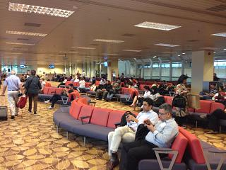 The waiting room in clean area of the airport terminal 2, Singapore Changi