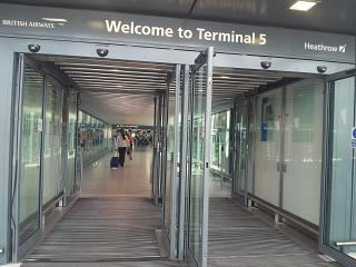 The entrance to the terminal 5 of Heathrow airport
