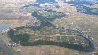 In flight over Japan before landing in Narita airport