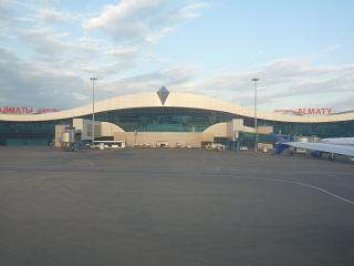 The main terminal of Almaty airport airside