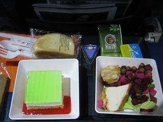 A meal on the Aeroflot flight Moscow-Kaliningrad
