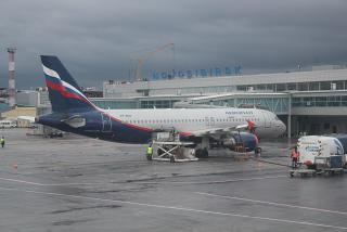 Airbus A320 of Aeroflot at the airport Novosibirsk Tolmachevo