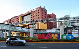 The hotel Camino Real in front of the terminal T1 of the airport of Mexico city Benito Juarez