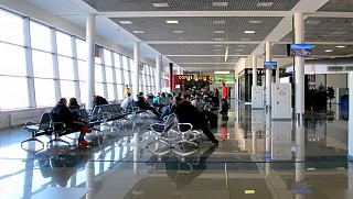 Sterile international departures area at the airport of Vladivostok