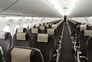 The passenger cabin of the Bombardier CS300 SWISS