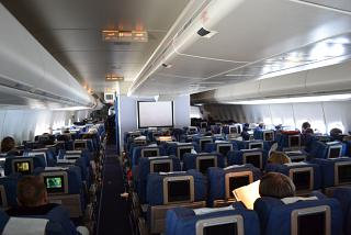 "The cabin of the aircraft Boeing-747-400 airline ""Transaero"""