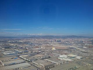 View of the industrial area of Barcelona before boarding