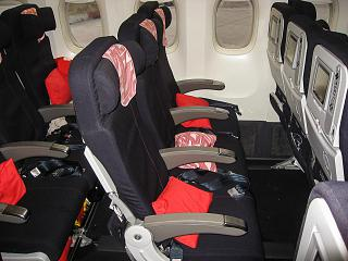 The passenger seats of economy class in the Boeing 777-200, Air France