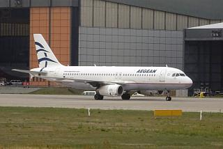 An Airbus A320 of Aegean Airlines at the airport Berlin Tegel