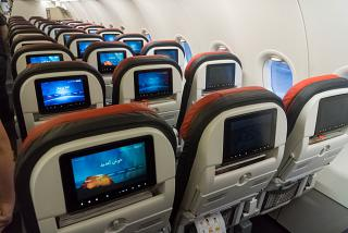 The passenger seats in the economy class in Airbus A321 Turkish Airlines