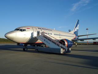 "Boeing-737-500 of airline ""Nordavia"" at the airport of Murmansk"