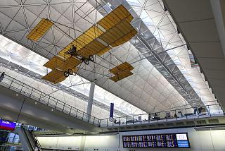 Replica of the aircraft Farman IV in terminal 1 Hong Kong international airport