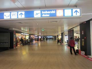 Gallery of shops in a clean area of Terminal 1 of the airport Rome Fiumicino