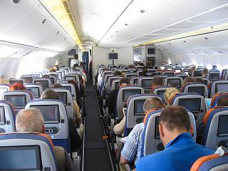 The economy class cabin in Boeing 777-300 Aeroflot