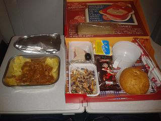 In-flight meals on the flight from Moscow to Bishkek Ural airlines