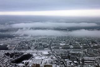 Над Москвой перед посадкой в аэропорту Шереметьево