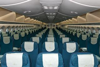The passenger cabin of economy class in the Boeing-787-9 Vietnam airlines