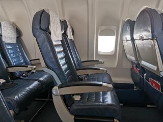 Passenger seats on the Bombardier CRJ200 of Rusline
