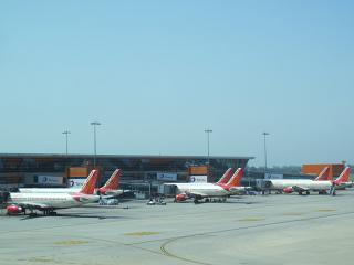 The aircraft of the airline Air India at Delhi airport