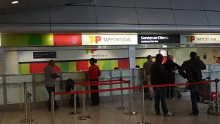 The airline TAP Portugal at Lisbon Portela airport