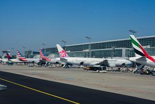 Planes at terminal 2 of Frankfurt airport