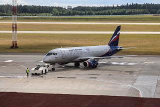 Superjet 100 of Aeroflot at the airport Minsk