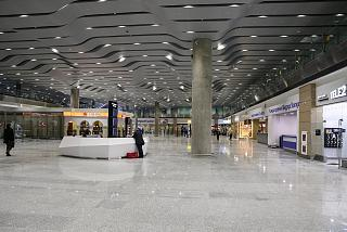The arrivals area in the new terminal of airport Saint Petersburg Pulkovo