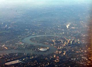 O2 arena and the Dog island in London