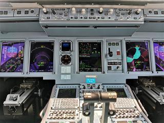 Dashboard in the Sukhoi Superjet-100 airliner
