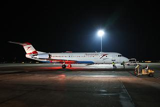 Aircraft Fokker 100 Austrian airlines at the airport Vienna Schwechat