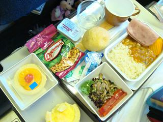 A meal on a flight of Vietnam airlines from Moscow to Ho Chi Minh city