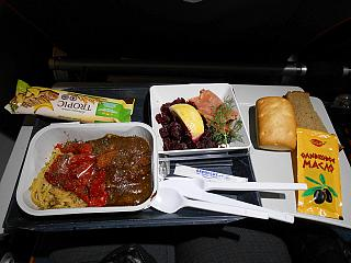 The catering meal on the Aeroflot flight Moscow-Krasnoyarsk