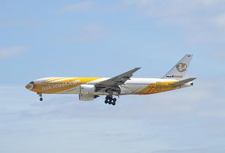 Boeing-777-200 of the airline NokScoot is landing at the airport Tokyo Narita