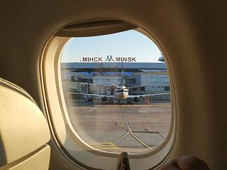 View from the window of the plane on the airport Minsk