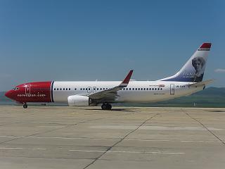 A Boeing-737-800 airline Norwegian at Burgas airport