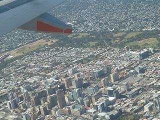 In flight over the Adelaide city centre