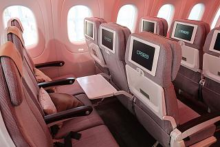 Passenger seats of economy class in the plane CR929