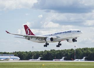 Airbus A330-200 of Turkish Airlines before landing at Vnukovo airport