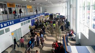 In the terminal building of the airport Simferopol