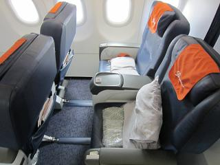 Passenger seats business class in the Airbus A320 of Aeroflot