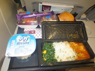 Dinner on the flight Nairobi-Doha Qatar Airways