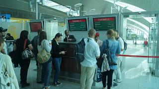 Boarding Emirates airlines in Dubai airport