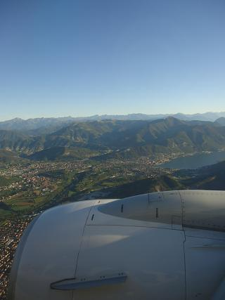 Before landing in Bergamo airport