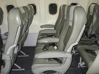 The passenger seats in the plane, an Airbus A320 Nouvelair